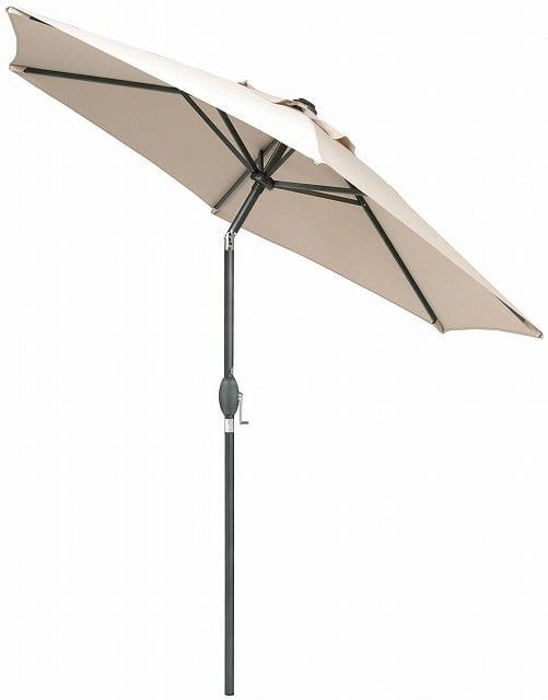 アルミパラソルチルト 2.5mベージュ:ハンドルを回すことで開閉が可能 日差しに合わせて傘を傾けられる