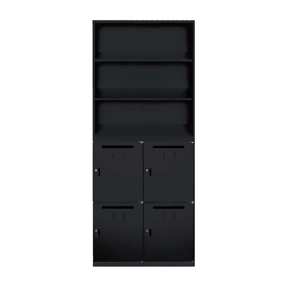 【法人様専用商品】システム収納 SSNシリーズ 上台オープン/下台パーソナルボックス(SSN45-10K-B・SSN45-10PB-B・SSN45-BB-B):お買い得なオフィス用収納庫です。